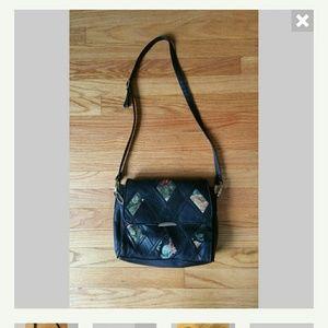 Vintage Cabin Creek Leather Tapestry Pathwork Bag