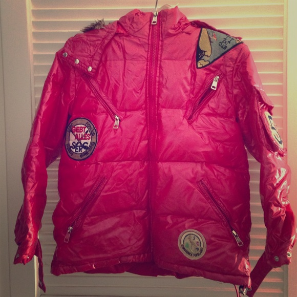 1f7d03107 Moncler Shiny Red Hooded Puffer Jacket XL Kids