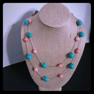 Aqua coral colors vintage beaded necklace