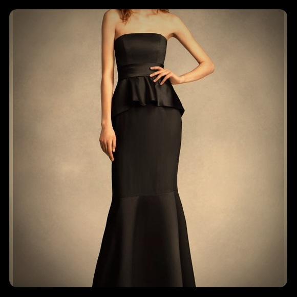 Vera Wang Dresses Black Satin Matte Peplum Bridesmaid Dress Poshmark
