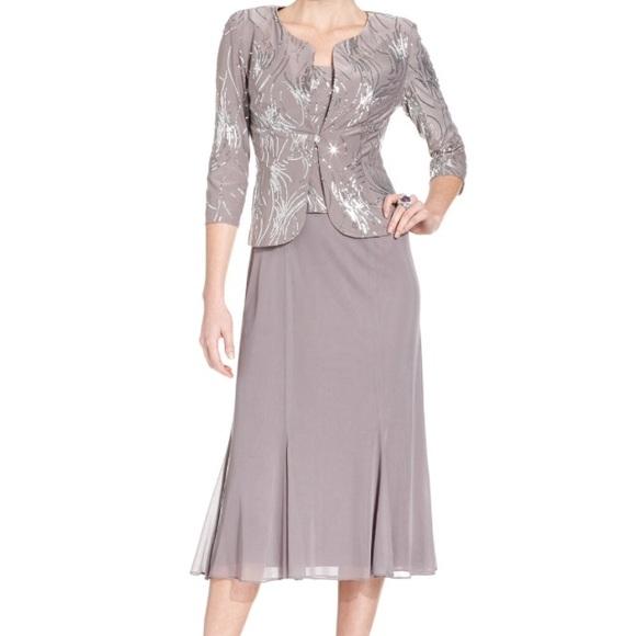 9d6c7eed16b Pewter Frost 2pc dress   jacket Sequin Swirls