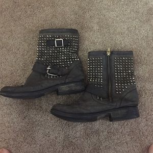 distressed studded moto boots