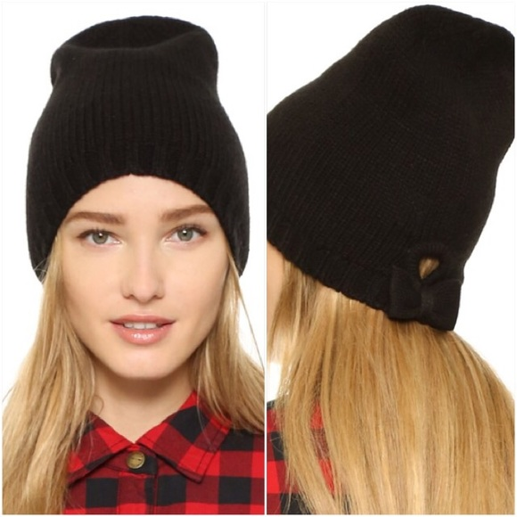 kate spade♤️gathered bow black knit beanie 77ded7abf30
