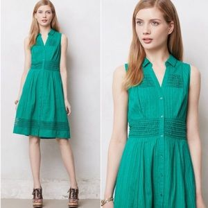 Anthropologie Dresses & Skirts - Anthropologie Maeve Green Swiss Dot Shirt Dress
