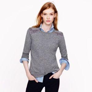 J.Crew jeweled embellish wool cashmere sweater XL