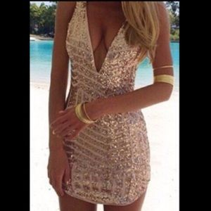 Lilac Shade Dresses & Skirts - Lilac Shade Gold Glitter Deep V-Neck Dress