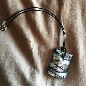 ❗️BOGO SALE ❗️Black & Silver Glass Necklace