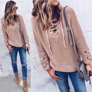 Boho Beige Lace Up Tunic Sweater S M L