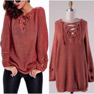 ❗️CLEARANCE❗️ Rust Lace Up Tunic Sweater S/M M/L