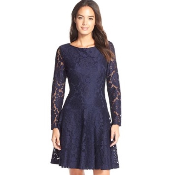 Navy Long Sleeve Lace Dress