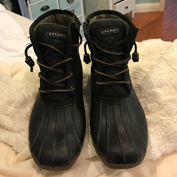 Womens Size 7 Black Sperry Duck Boot
