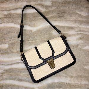 Monet Handbags - Monet Straw Purse w/ Leather Trim