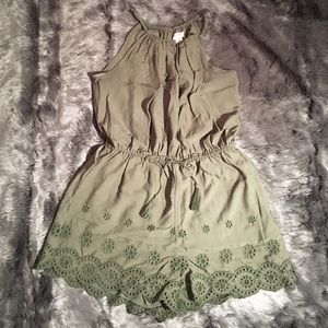 Olive green embroidered romper