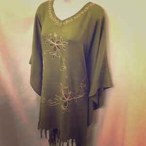W & A Olive Beach Cover Up Embroidered Flower