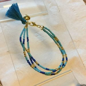 Tassel bracelet 3 layers seeds beads Gold Plated