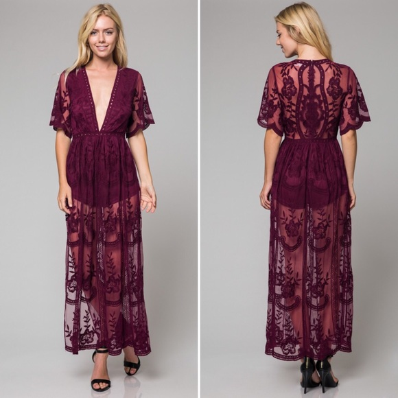 6562b32e491f Wine Honey Punch Lace Maxi Romper