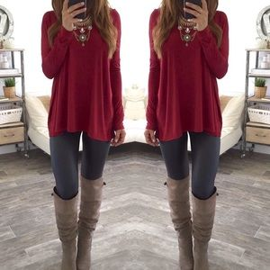 3 LEFT! Burgundy maroon red long sleeve tee shirt