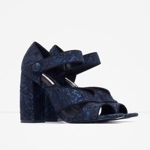 Zara Block Heeled Sandals Navy