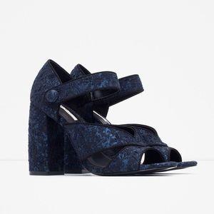 Zara Block Heeled Sandals Navy