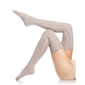e550af79a Free People Khaki Fray Pointelle Thigh High Socks