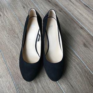 "H&M suede leather wedge pumps 4"" heels"