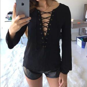 LF Tops - LF Millau lace up blouse