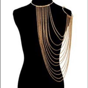 Jewelry - Multilayered Necklace Body Chain W/Arm Cuff