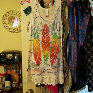 Hand painted tank by Skybaby with lace detail