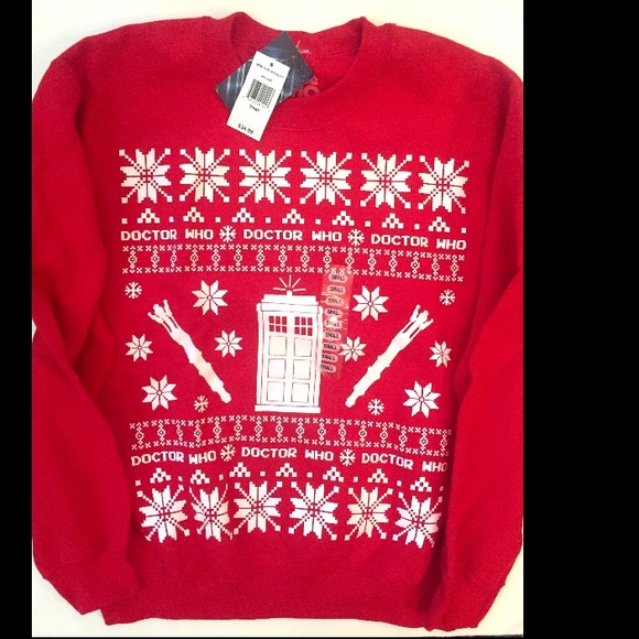 Dr Who Christmas Sweater.Doctor Who Christmas Sweater Police Box Pattern Nwt