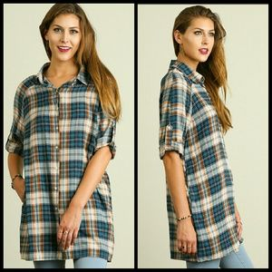 Tops - Teal and Camel Print Tunic