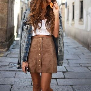 Dresses & Skirts - Suede Button Front Skirt