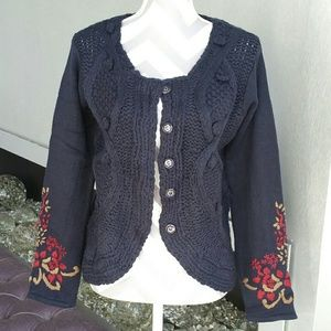 Sweaters - Navy blue cardigan with embroidered details