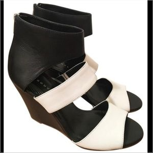 Trouve Shoes - Trouve Black & White Leather Wedge Heels 9