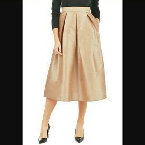 "Eshakti rose gold dupioni midi skirt, 35"" waist"