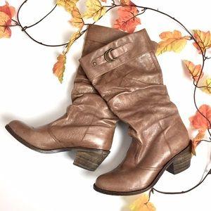 STEVE MADDEN cognac leather cowboy boots