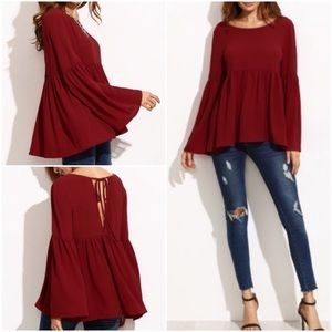 Bell Sleeve Cutout back Blouse. Price firm