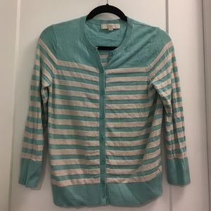 Teal/cream stripes cardigan - Loft