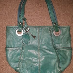 Fossil Teal Leather Shoulder Bag 