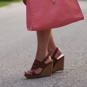 Sole Society Shoes - Brown Leather Wedge Sandals