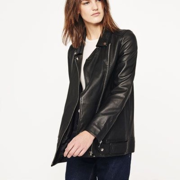 Zara - Long length biker leather jacket -- Zara small from ...
