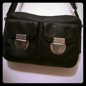 Fossil two pocket small black leather crossbody