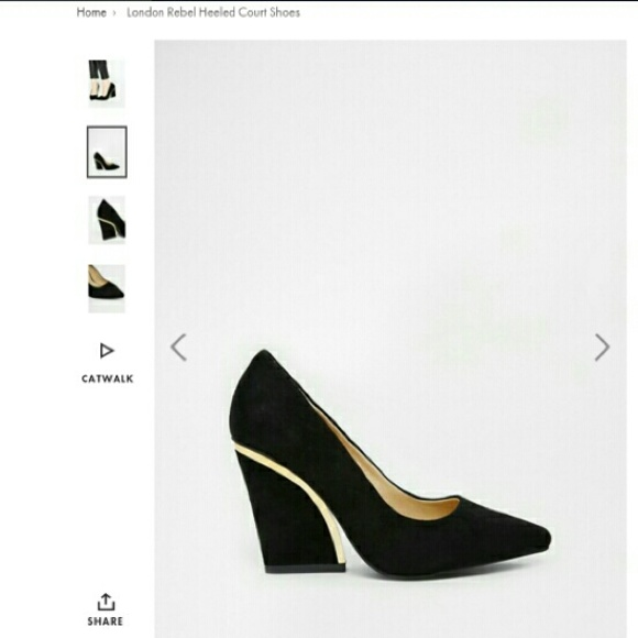 3901ccfe0fe London Rebel black/gold curved wedge shoe, size 10 NWT