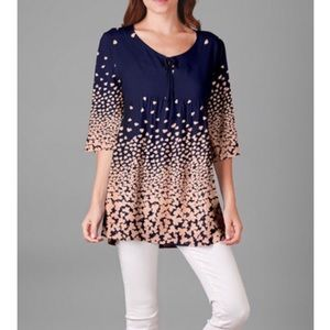Tops - Navy and Beige Flower Tunic Size S
