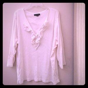 White Long Sleeve Blouse sz 3X