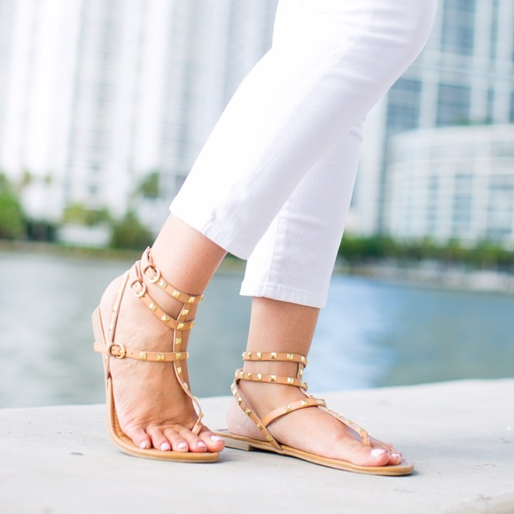 a9116fc7926 Betseyville nude studded gladiator sandals