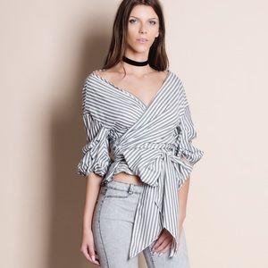 Striped Off Shoulder Wrap Top