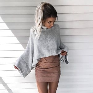 Bare Anthology Sweaters - NBF ❤️ Grey Turtleneck Oversized Sweater Top