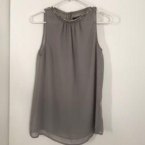 Zara chiffon top with gem neckline