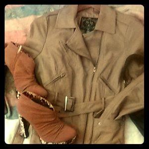 Mo-ka Jackets & Blazers - Fashionable Leather-like Jacket