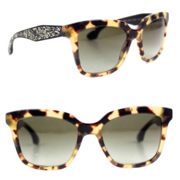 689e16ac22e Miu Miu Tortoise Crystal Rock Sunglasses New